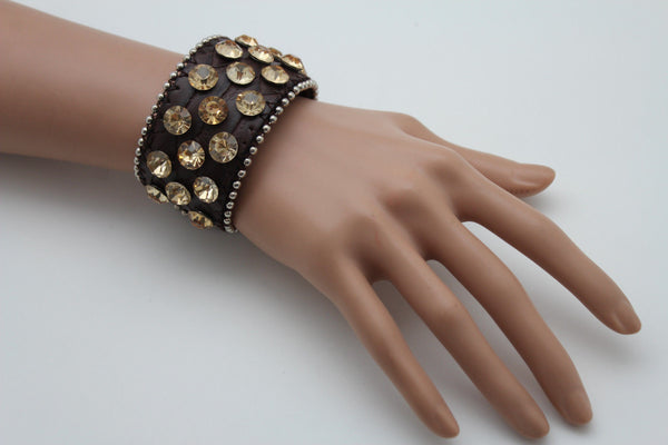 Brown Leather Bracelet Metal Studs Multi Gold Rhinestones New Women Fashion Jewelry Accessories - alwaystyle4you - 2