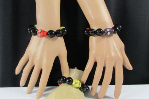 Black Beads Adjustable Bracelet Elastic Yellow Orange Red Green Skulls Halloween Jewelry New Women Fashion Accessories - alwaystyle4you - 1