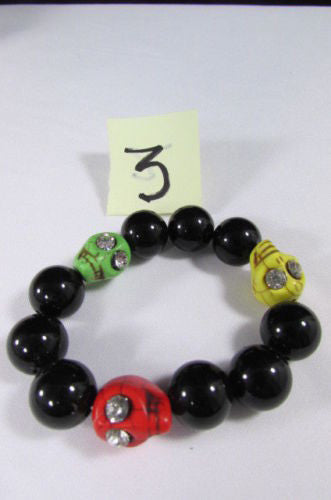 Black Beads Adjustable Bracelet Elastic Yellow Orange Red Green Skulls Halloween Jewelry New Women Fashion Accessories - alwaystyle4you - 3