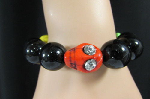 Black Beads Adjustable Bracelet Elastic Yellow Orange Red Green Skulls Halloween Jewelry New Women Fashion Accessories - alwaystyle4you - 5