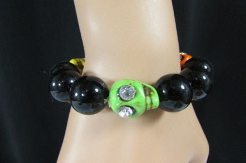Black Beads Adjustable Bracelet Elastic Yellow Orange Red Green Skulls Halloween Jewelry New Women Fashion Accessories - alwaystyle4you - 6