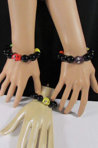 Black Beads Adjustable Bracelet Elastic Yellow Orange Red Green Skulls Halloween Women Accessories