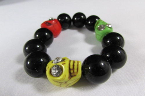 Black Beads Adjustable Bracelet Elastic Yellow Orange Red Green Skulls Halloween Jewelry New Women Fashion Accessories - alwaystyle4you - 9