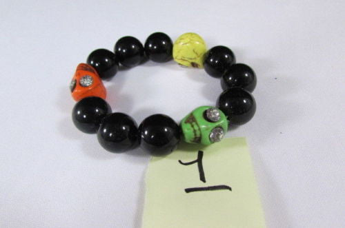 Black Beads Adjustable Bracelet Elastic Yellow Orange Red Green Skulls Halloween Jewelry New Women Fashion Accessories - alwaystyle4you - 10