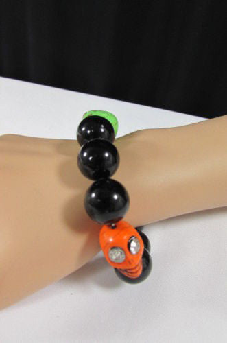 Black Beads Adjustable Bracelet Elastic Yellow Orange Red Green Skulls Halloween Jewelry New Women Fashion Accessories - alwaystyle4you - 12