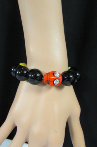 Black Beads Adjustable Bracelet Elastic Yellow Orange Red Green Skulls Halloween Jewelry New Women Fashion Accessories - alwaystyle4you - 2