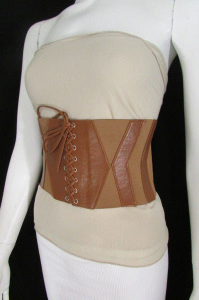 Dark Brown / Black / Brown / Gold Faux Leather Elastic Back Wide Corset Hip High Waist Belt Women Fashion Hot Accessories S M - alwaystyle4you - 37