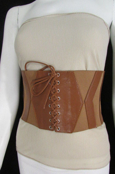 Dark Brown / Black / Brown / Gold Faux Leather Elastic Back Wide Corset Hip High Waist Belt Women Fashion Hot Accessories S M - alwaystyle4you - 39