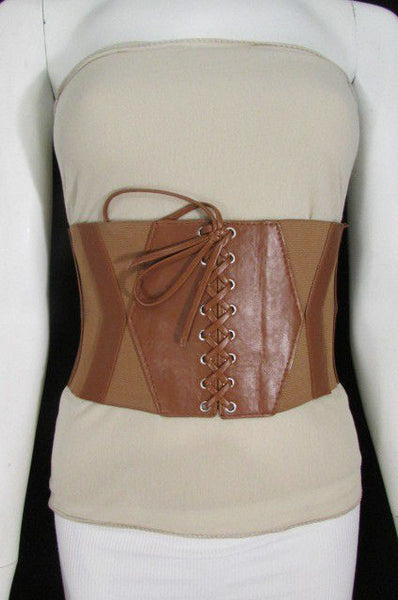 Dark Brown / Black / Brown / Gold Faux Leather Elastic Back Wide Corset Hip High Waist Belt Women Fashion Hot Accessories S M - alwaystyle4you - 28
