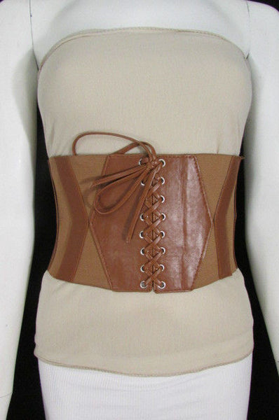 Dark Brown / Black / Brown / Gold Faux Leather Elastic Back Wide Corset Hip High Waist Belt Women Fashion Hot Accessories S M - alwaystyle4you - 31