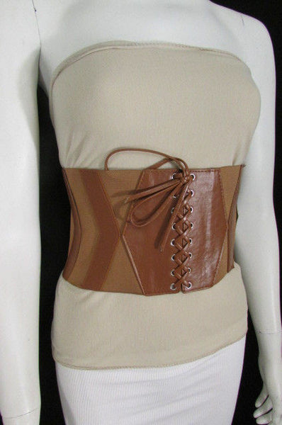 Dark Brown / Black / Brown / Gold Faux Leather Elastic Back Wide Corset Hip High Waist Belt Women Fashion Hot Accessories S M - alwaystyle4you - 33