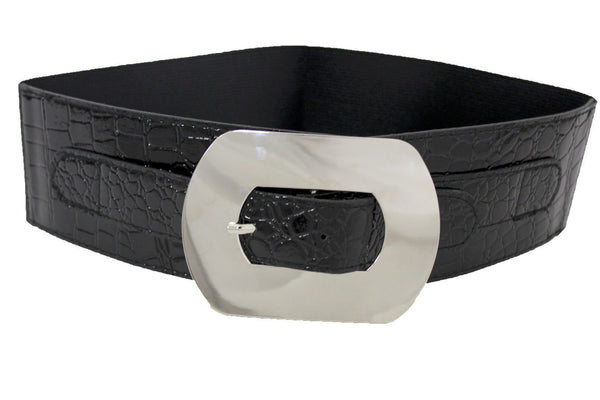 Black Wide Faux Leather Stretch Back Belt Big Silver Metal Oval Buckle New Women Fashion Accessories Plus Size M L - alwaystyle4you - 2