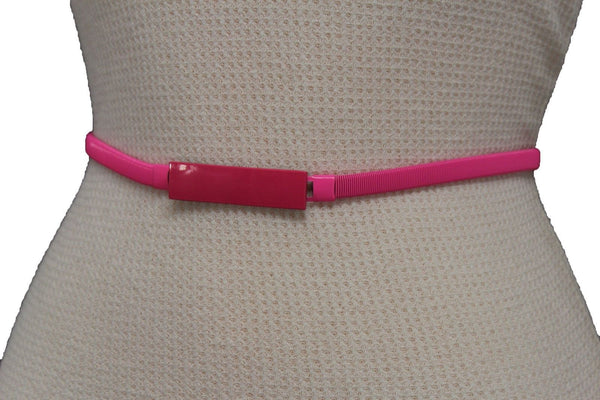 Light Green / Light Blue / Hot Pink / Teal Blue / Coral / Yellow / / Red Metal Stretch Narrow Hip High Waist Elastic Belt New Women Fashion Accessories S M L - alwaystyle4you - 35