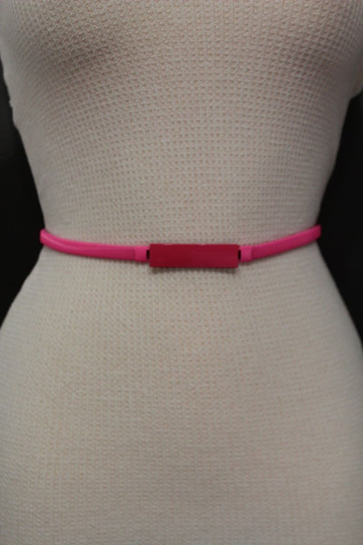 Light Green / Light Blue / Hot Pink / Teal Blue / Coral / Yellow / / Red Metal Stretch Narrow Hip High Waist Elastic Belt New Women Fashion Accessories S M L - alwaystyle4you - 28