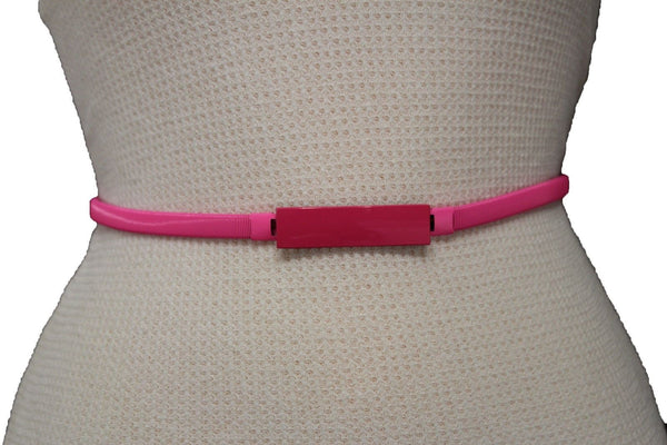 Light Green / Light Blue / Hot Pink / Teal Blue / Coral / Yellow / / Red Metal Stretch Narrow Hip High Waist Elastic Belt New Women Fashion Accessories S M L - alwaystyle4you - 33