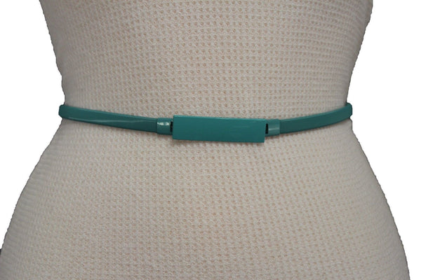 Light Green / Light Blue / Hot Pink / Teal Blue / Coral / Yellow / / Red Metal Stretch Narrow Hip High Waist Elastic Belt New Women Fashion Accessories S M L - alwaystyle4you - 47