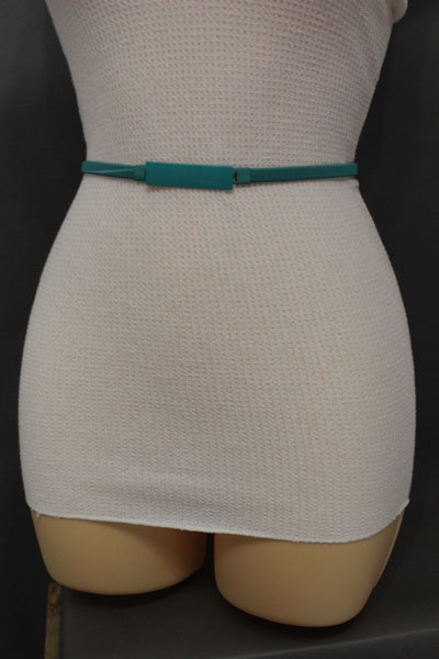 Light Green / Light Blue / Hot Pink / Teal Blue / Coral / Yellow / / Red Metal Stretch Narrow Hip High Waist Elastic Belt New Women Fashion Accessories S M L - alwaystyle4you - 37