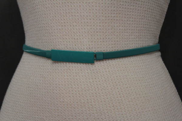 Light Green / Light Blue / Hot Pink / Teal Blue / Coral / Yellow / / Red Metal Stretch Narrow Hip High Waist Elastic Belt New Women Fashion Accessories S M L - alwaystyle4you - 40