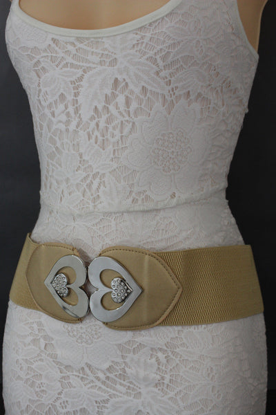 Gold / Gray Elastic Band Hip Waist Belt Silver Metal Heart Multi Rhinestones Buckle New Women Fashion Accessories S M - alwaystyle4you - 6