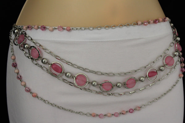 Pink Beads Silver Metal Multi Chains 5 Strands Hip Waist Belt New Women Fashion Accessories XS S M L - alwaystyle4you - 19