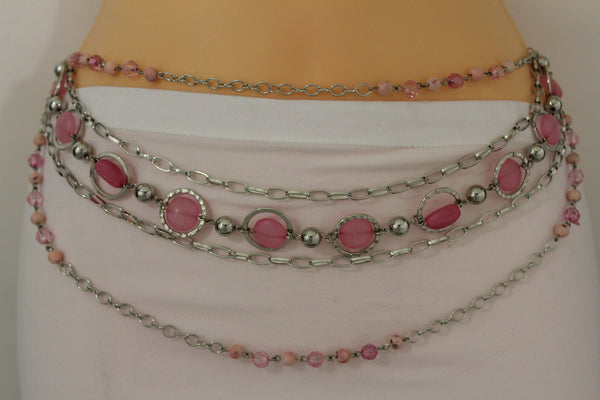 Pink Beads Silver Metal Multi Chains 5 Strands Hip Waist Belt New Women Fashion Accessories XS S M L - alwaystyle4you - 20