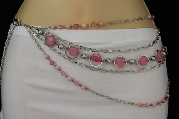 Pink Beads Silver Metal Multi Chains 5 Strands Hip Waist Belt New Women Fashion Accessories XS S M L - alwaystyle4you - 14