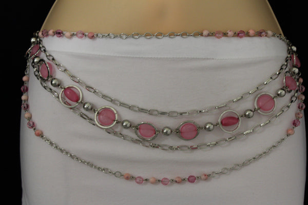 Pink Beads Silver Metal Multi Chains 5 Strands Hip Waist Belt New Women Fashion Accessories XS S M L - alwaystyle4you - 17