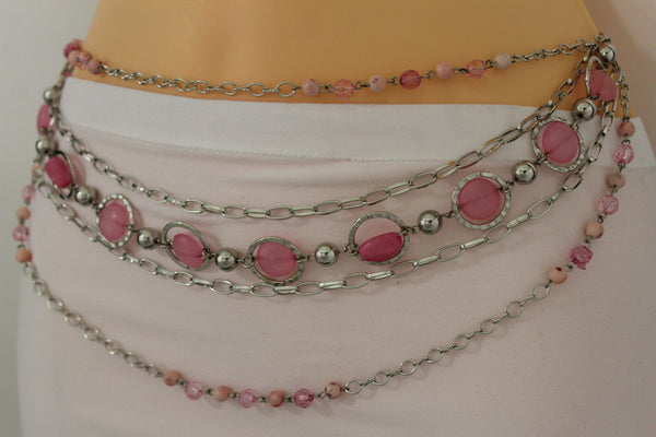Pink Beads Silver Metal Multi Chains 5 Strands Hip Waist Belt New Women Fashion Accessories XS S M L