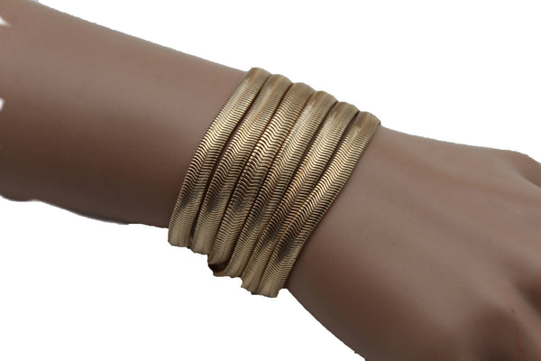 Gold Metal Bracelet Wide Mesh Chain 5 Strand Wide Wrist New Women Fashion Jewelry Fun Accessories - alwaystyle4you - 1