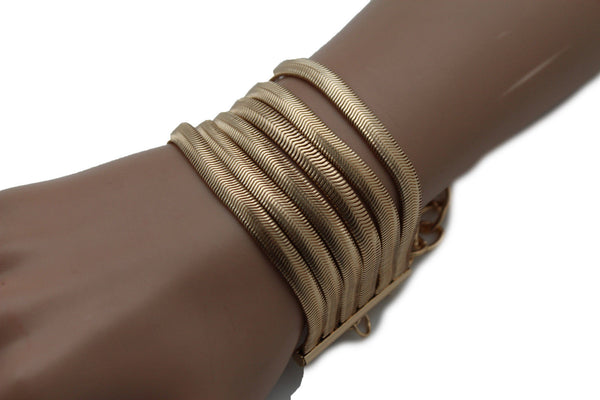 Gold Metal Bracelet Wide Mesh Chain 5 Strand Wide Wrist New Women Fashion Jewelry Fun Accessories - alwaystyle4you - 3
