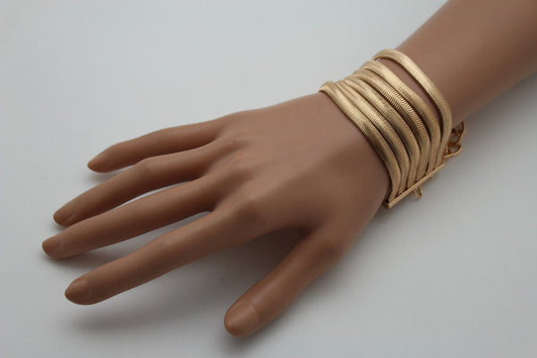 Gold Metal Bracelet Wide Mesh Chain 5 Strand Wrist New Women Fashion Jewelry Fun Accessories