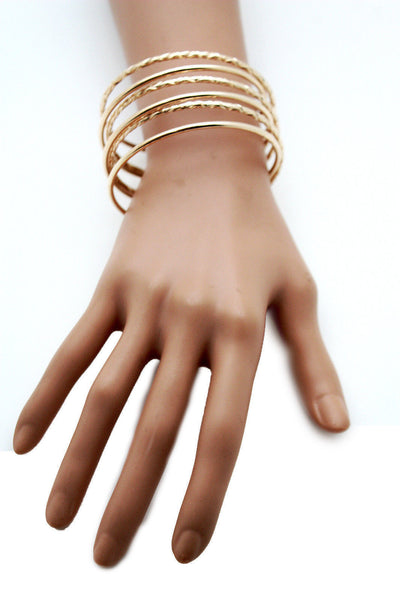 Gold Skinny Metal Retro Bangle Cuff Bracelet Spring Shape Trendy New Women Fashion Jewelry Accessories - alwaystyle4you - 3