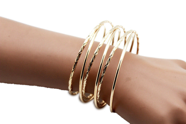 Gold Skinny Metal Retro Bangle Cuff Bracelet Spring Shape Trendy New Women Fashion Jewelry Accessories - alwaystyle4you - 6
