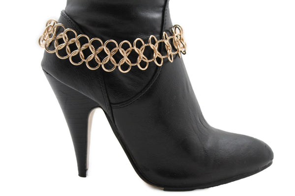 Gold / Silver Metal Boot Bracelet Chain Link Wide Bling Anklet Shoe Charm New Women Western Style - alwaystyle4you - 16