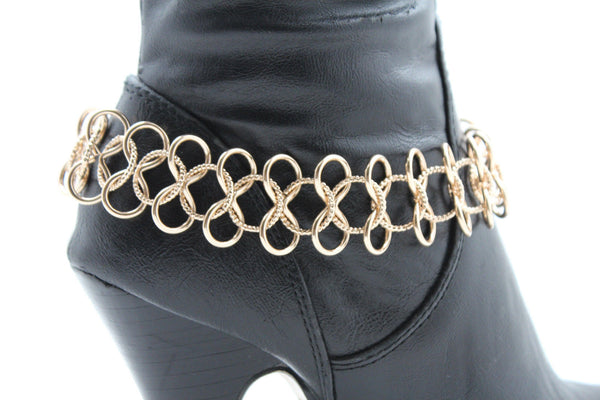 Gold / Silver Metal Boot Bracelet Chain Link Wide Bling Anklet Shoe Charm New Women Western Style - alwaystyle4you - 2