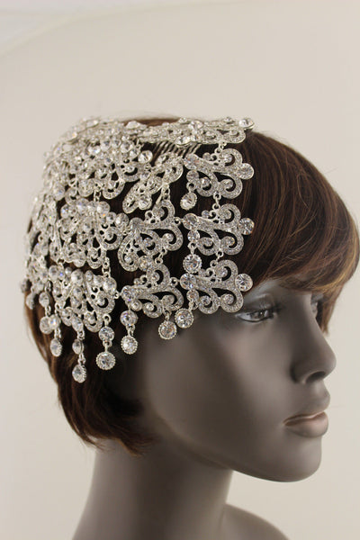 Silver Metal Wide Long Head Piece Pin Hair New Women Trendy Wedding Jewelry Accessories