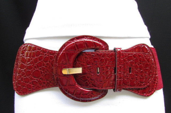 Casual High Waist / Hip Elastic Stretch Faux Leather Belt Crocodile Stamp 15 Different Colors To Choose From  New Women Fashion Accessories - alwaystyle4you - 101