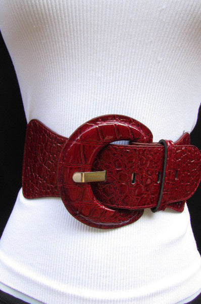Casual High Waist / Hip Elastic Stretch Faux Leather Belt Crocodile Stamp 15 Different Colors To Choose From  New Women Fashion Accessories - alwaystyle4you - 11