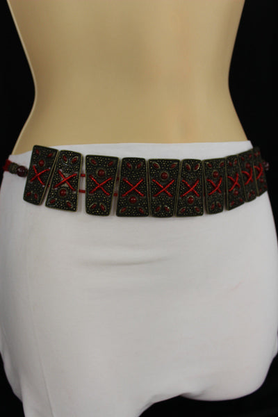 Antique Gold Metal Plates Vintage Japan Black / Brown / Red Multi Beads Tie Skinny Belt New Women Accessories S M L - alwaystyle4you - 7