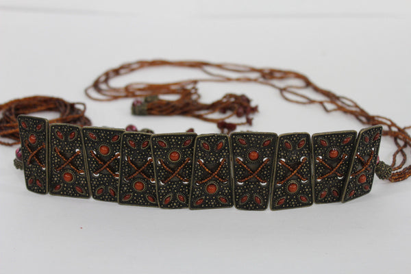 Antique Gold Metal Plates Vintage Japan Black / Brown / Red Multi Beads Tie Skinny Belt New Women Accessories S M L - alwaystyle4you - 31