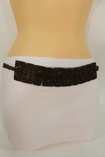 Antique Gold Metal Plates Vintage Japan Black / Brown / Red Multi Beads Tie Skinny Belt New Women Accessories S M L - alwaystyle4you - 32