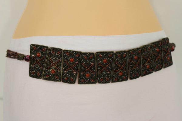 Antique Gold Plates Vintage Japan Brown Red Multi Beads Belt Women Accessories S M L
