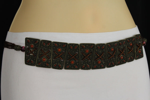 Antique Gold Metal Plates Vintage Japan Black / Brown / Red Multi Beads Tie Skinny Belt New Women Accessories S M L - alwaystyle4you - 36