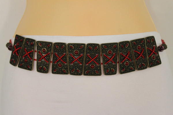 Antique Gold Metal Plates Vintage Japan Black / Brown / Red Multi Beads Tie Skinny Belt New Women Accessories S M L - alwaystyle4you - 38