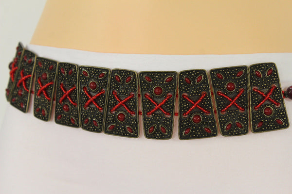 Antique Gold Metal Plates Vintage Japan Black / Brown / Red Multi Beads Tie Skinny Belt New Women Accessories S M L - alwaystyle4you - 9
