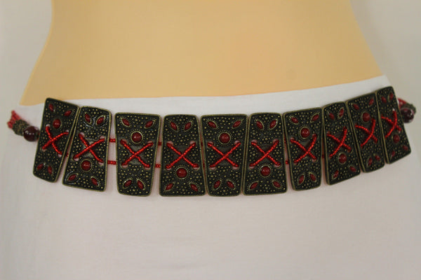 Antique Gold Metal Plates Vintage Japan Black / Brown / Red Multi Beads Tie Skinny Belt New Women Accessories S M L - alwaystyle4you - 41
