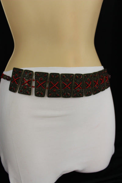 Antique Gold Metal Plates Vintage Japan Black / Brown / Red Multi Beads Tie Skinny Belt New Women Accessories S M L - alwaystyle4you - 43
