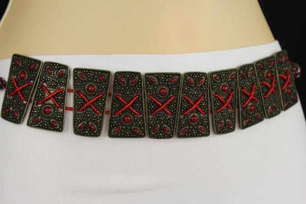 Antique Gold Metal Plates Vintage Japan Black / Brown / Red Multi Beads Tie Skinny Belt New Women Accessories S M L - alwaystyle4you - 44