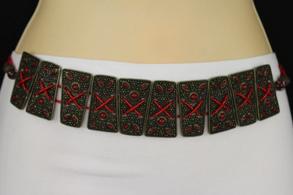 Antique Gold Metal Plates Vintage Japan Black / Brown / Red Multi Beads Tie Skinny Belt New Women Accessories S M L - alwaystyle4you - 2