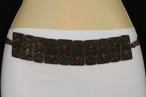 Antique Gold Metal Plates Vintage Japan Black / Brown / Red Multi Beads Tie Skinny Belt New Women Accessories S M L - alwaystyle4you - 10